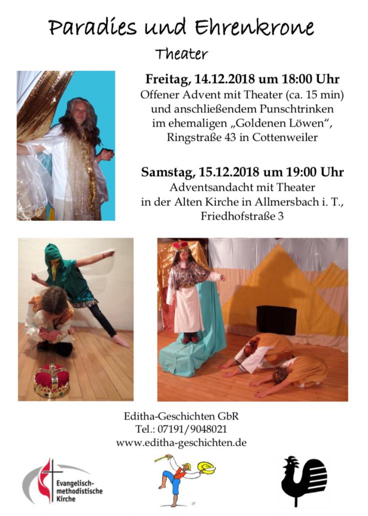 """Flyer """"Paradies und Ehrenkrone"""""""