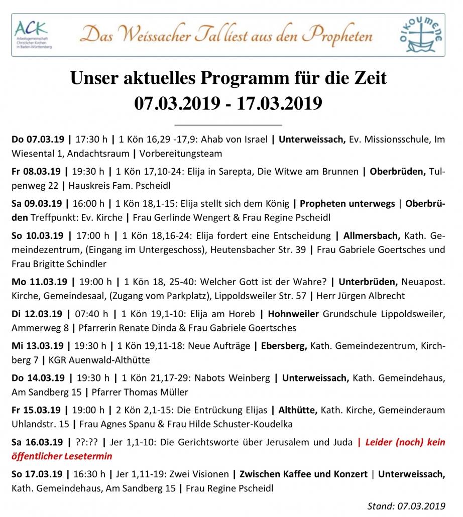 Das Weissacher Tal ließt aus den Propheten | Programm ab 07.03.2019